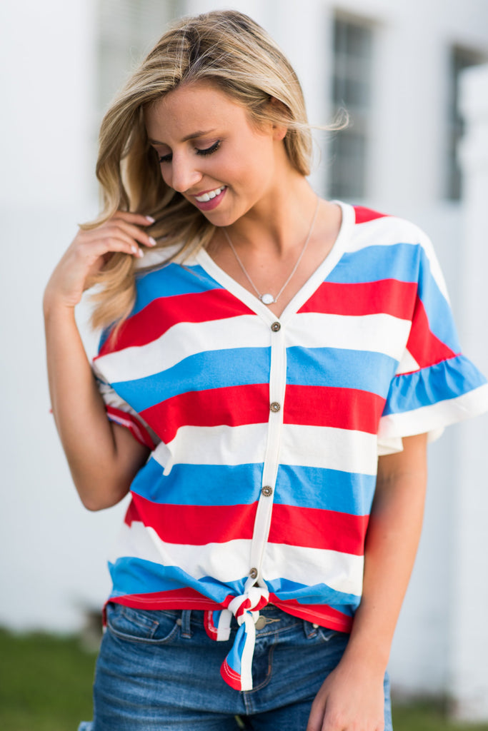 Out And About Top, Red-White-Blue