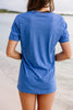 Oh My Stars Heather Royal Blue Graphic Tee