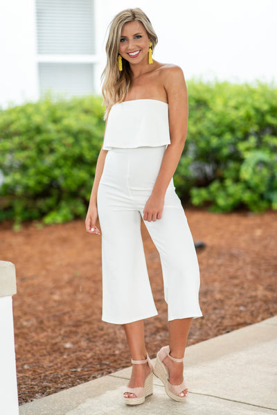 On The Rise Crop Jumpsuit, Ivory