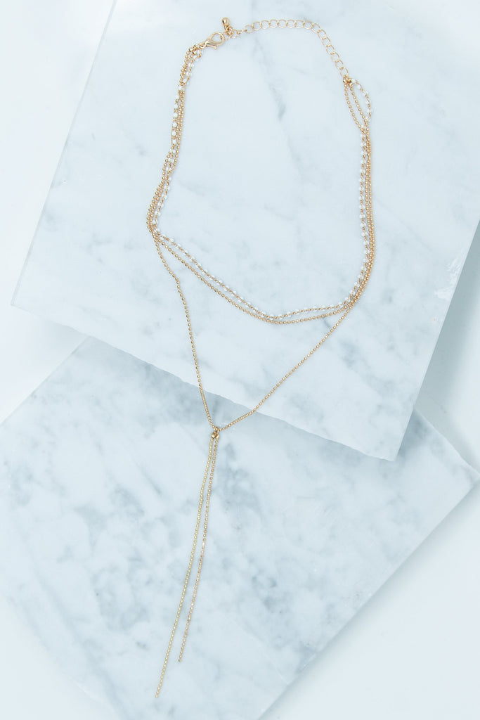 gold, layering necklace, simple, white, dainty, bead, simple