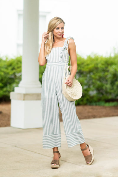 Coastal Cutie Crop Jumpsuit, Heather Gray