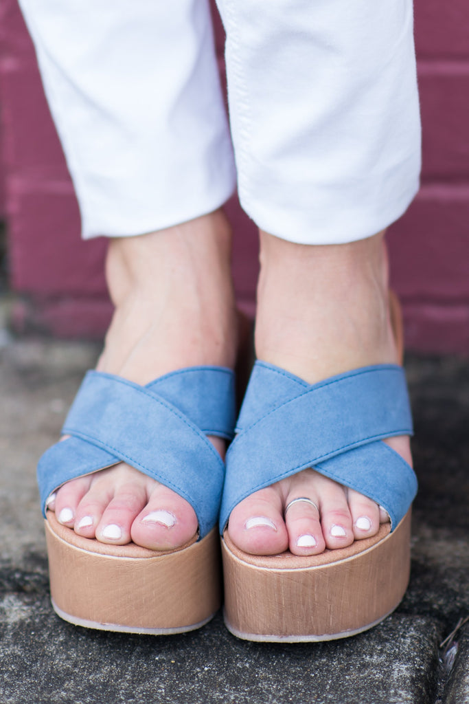 At Your Request Slide Wedges, Blue