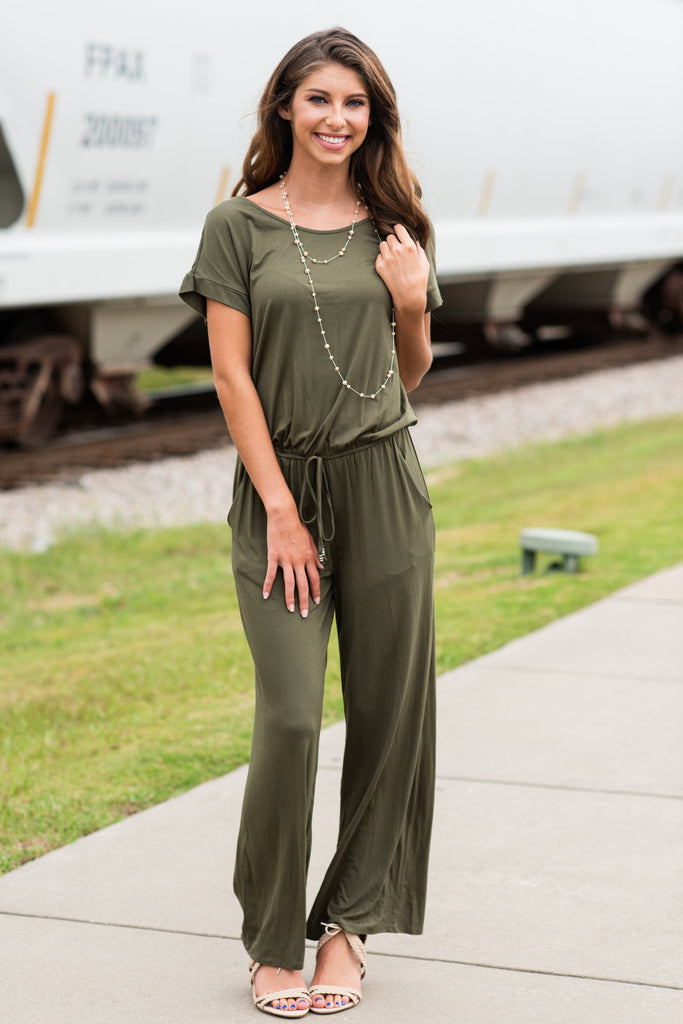The Look Of Love Olive Green Elastic Waist Jumpsuit