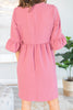 Dreaming Of The Day Mauve Pink Peplum Sleeve Dress