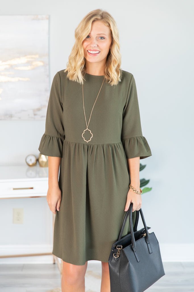 Dreaming Of The Day Olive Green Peplum Sleeve Dress