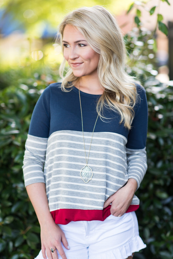 Collected Calm Top, Navy-Red