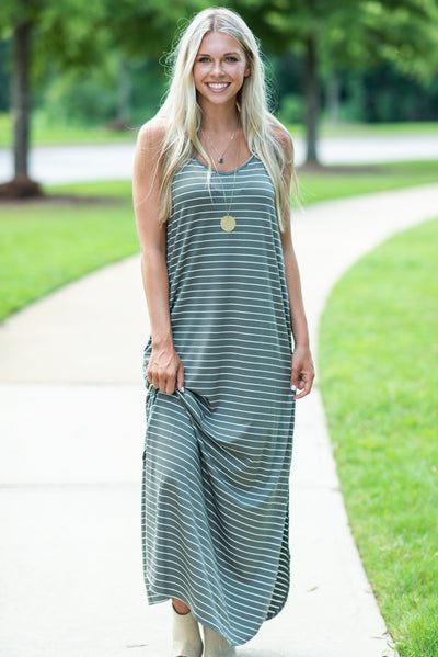 Playing Hard To Get Maxi Dress, Olive-Ivory