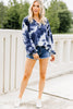 tie dye print, navy blue, tie dye top, long bubble sleeves, v-neckline