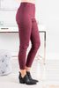 On The Edge Wine Red Moto Jeggings