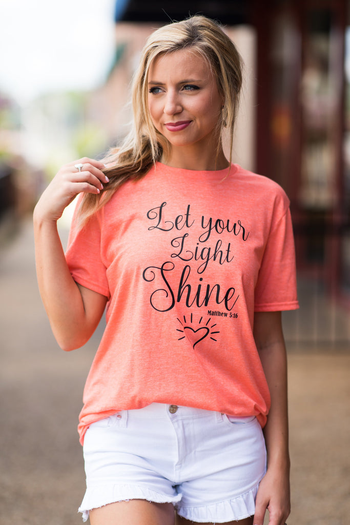 Let Your Light Shine T-Shirt, Heather Orange