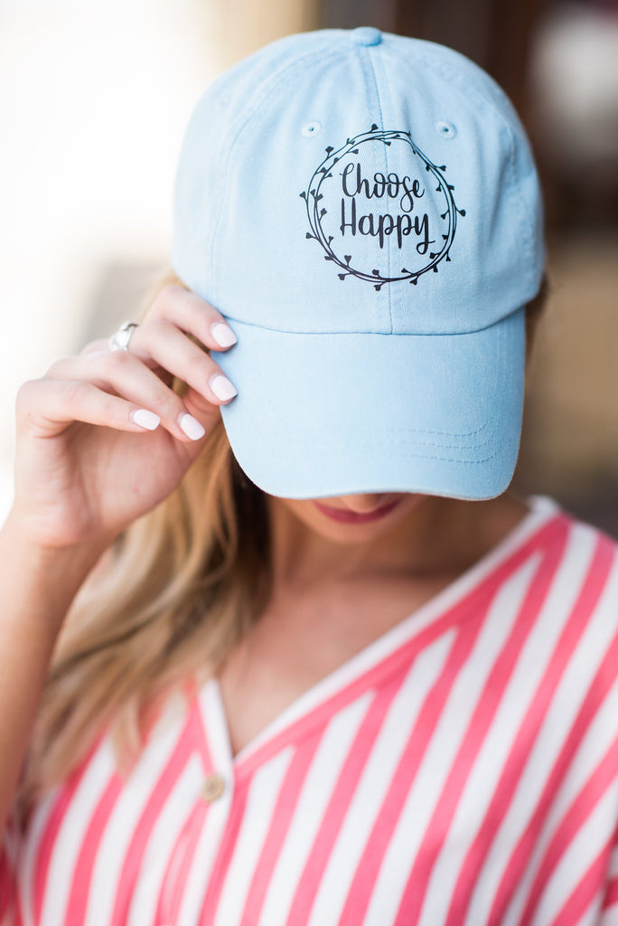 Choose Happy Hat, Baby Blue