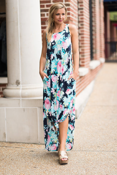 In This Moment Maxi Dress, Navy-Fuchsia