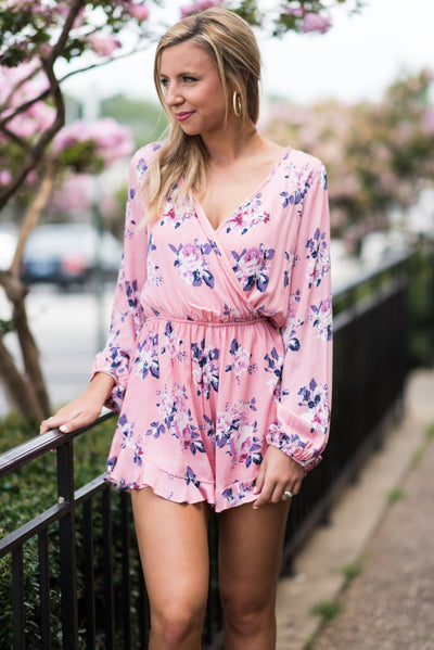Floating On Happiness Romper, Light Pink