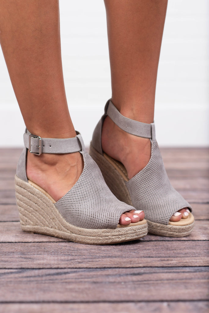 Believe In Happy Wedges, Light Gray