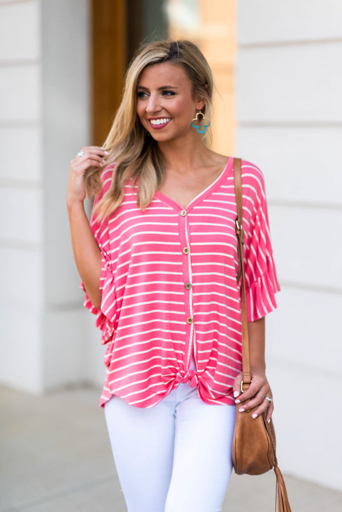 Always Be The Best Top, Light Coral-White