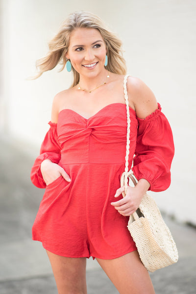 Make It Right Romper, Red