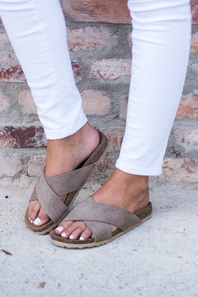 All Is Well Slide Sandals, Taupe