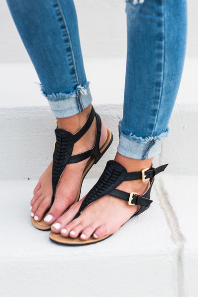 All Figured Out Sandals, Black