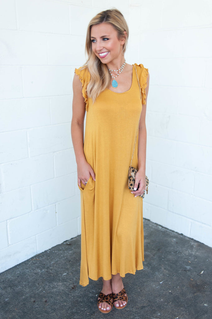 Found Your Way Midi Dress, Mustard