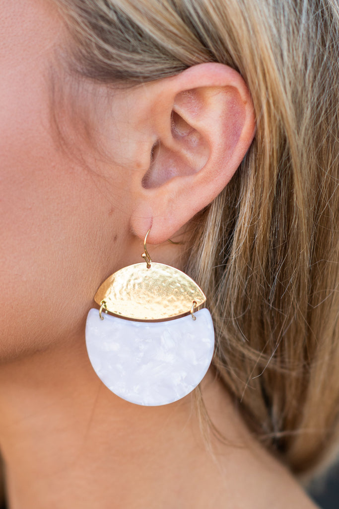 Half Moon Beauty Earrings, Ivory