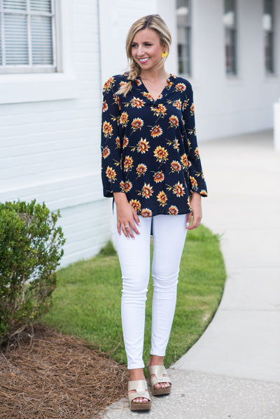 Sweet Sunflower Blouse, Navy