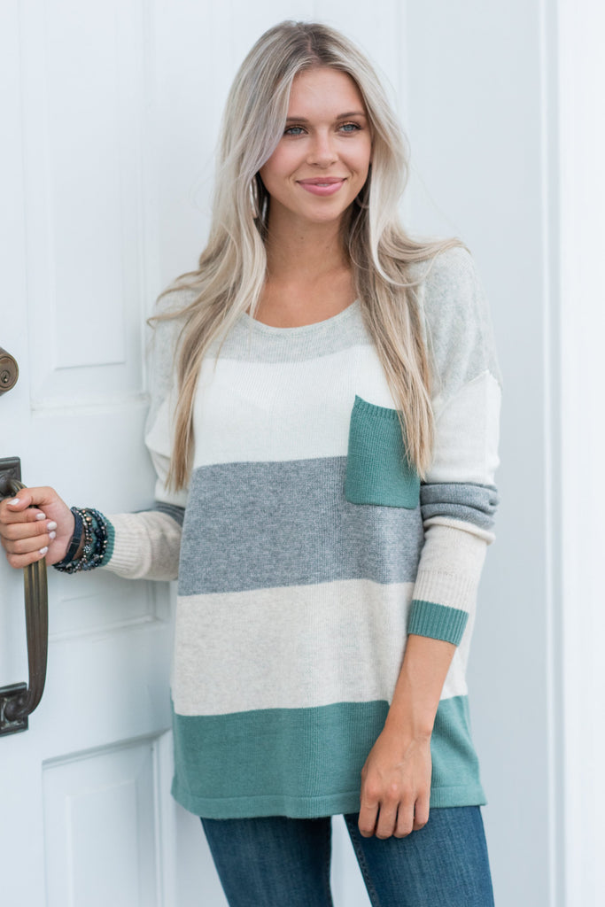 striped, casual, color block, cozy, stretch, long sleeve
