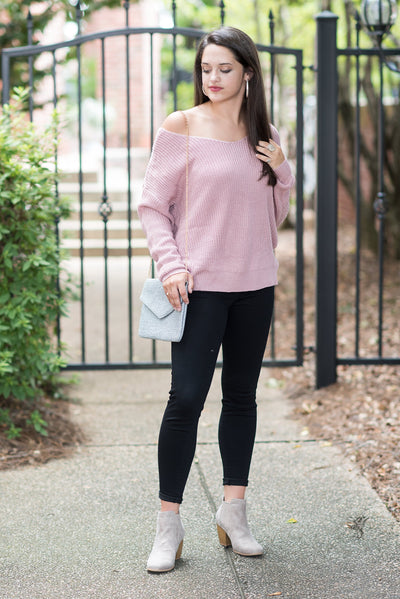 Can't Look Back Sweater, Mauve
