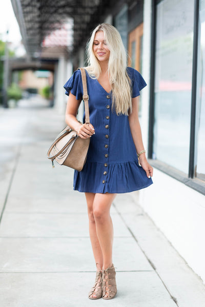 Can't Pass You By Dress, Navy