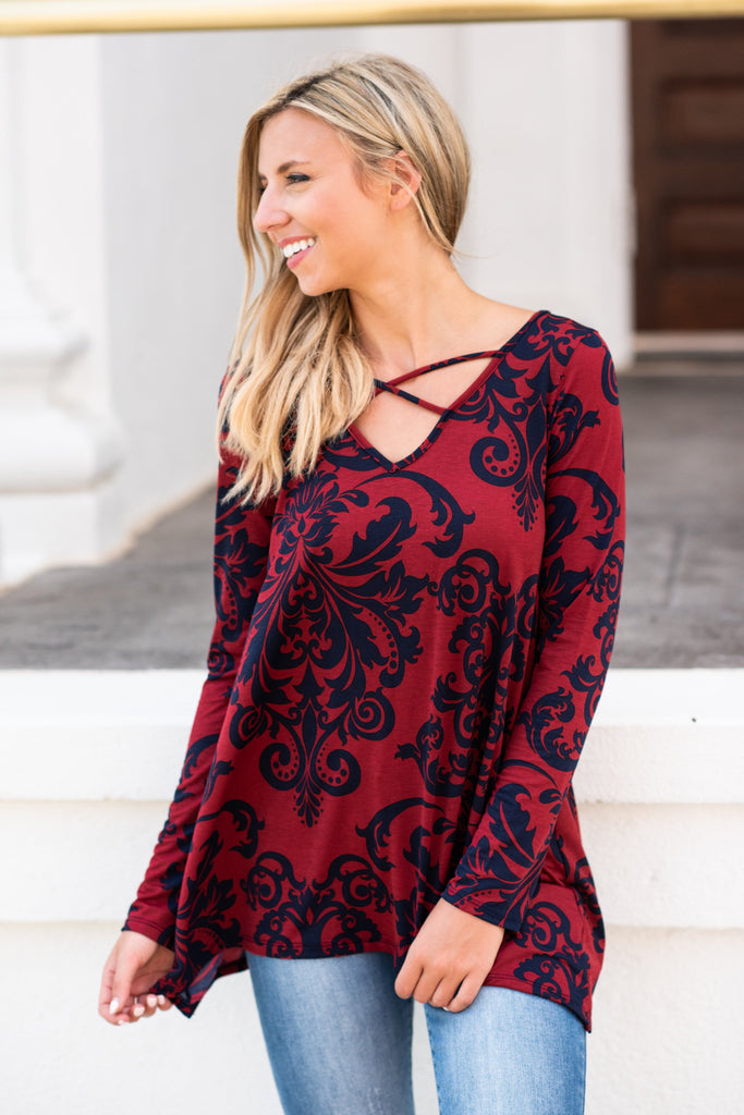 Damask And You Shall Receive Top, Burgundy