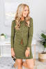 fall, dress, fall dress, piko dress, comfy, round neckline, long sleeves, stretchy fabric, generous stretch, green, green dress, olive, olive dress