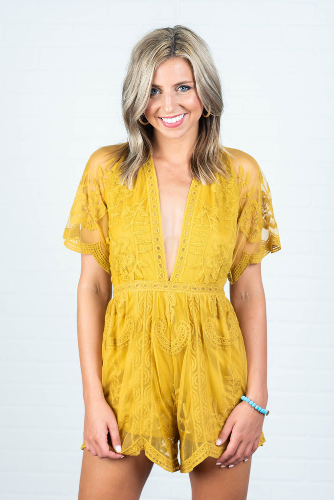 Face Of Flawless Romper, Mustard