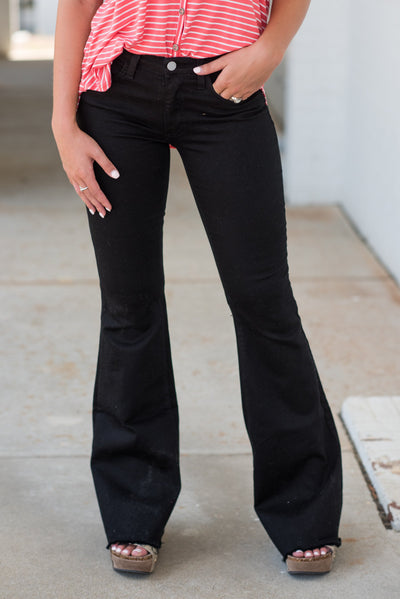 Living On Love Flare Jeans, Black