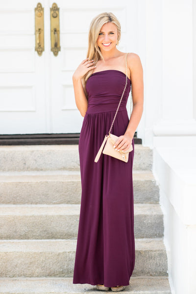 Strap-less Is More Maxi Dress, Plum