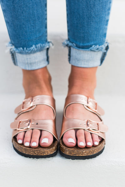 Casual Intentions Sandals, Rose Gold