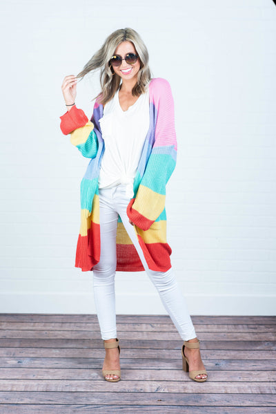 Rainbow Always Bright Cardigan, Pink-Multi