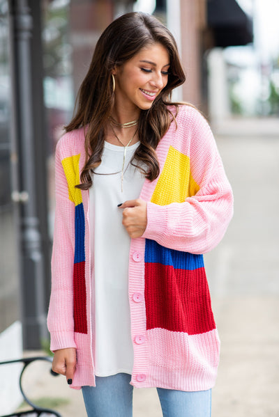 What A Wonderful World Cardigan, Pink-Multi