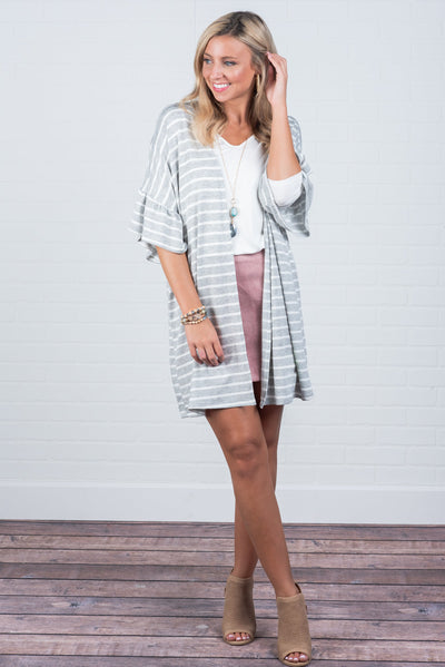 Make It Last Cardigan, Gray-Ivory
