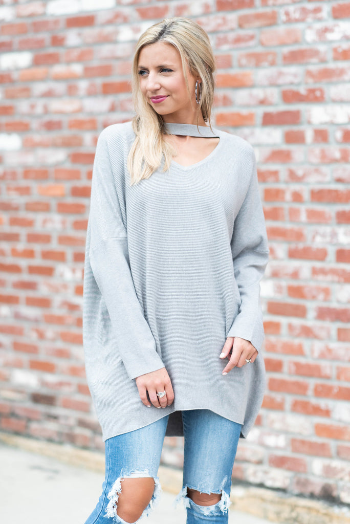 Instantly Love You Heather Gray Keyhole Sweater