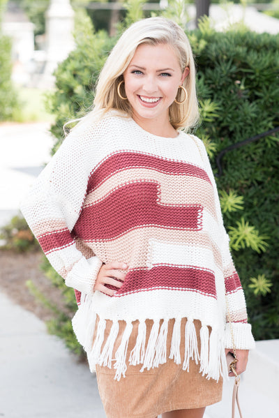 Boho Fringe Sweater, Cream