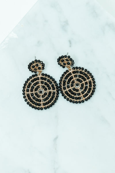 The Stand Out Earrings, Black-Gold
