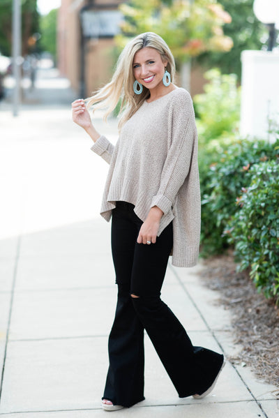 Don't Waste A Moment Sweater, Taupe