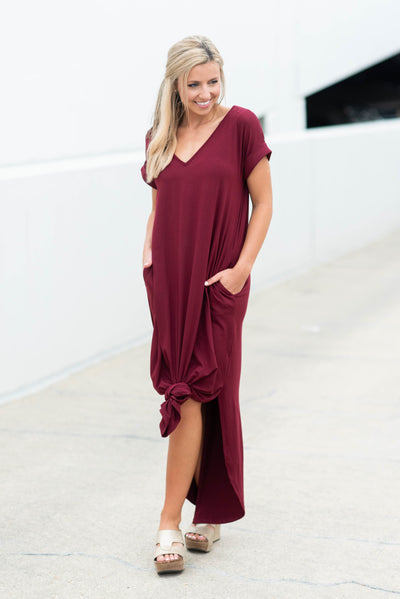 This Is No Dream Maxi Dress, Burgundy