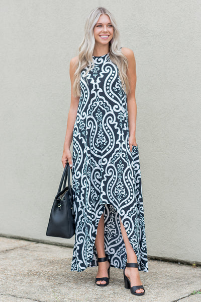 Never Too Busy High Low Maxi Dress, Black-Ivory