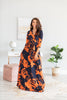 dress, maxi dress, floral, floral maxi dress, fall florals, summer maxi dress, fall maxi dress, casual, casual maxi dress, v neck, v neck maxi dress, blue, orange, blue and orange, trendy, shopping, gameday, everyday