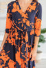 All Around Town Maxi Dress, Navy-Coral