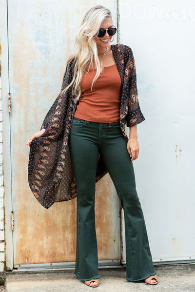 Living On Love Flare Jeans, Olive