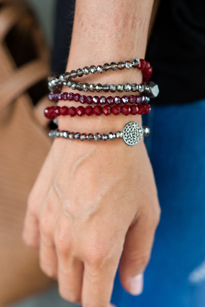 All The Love Bracelet, Maroon-Black