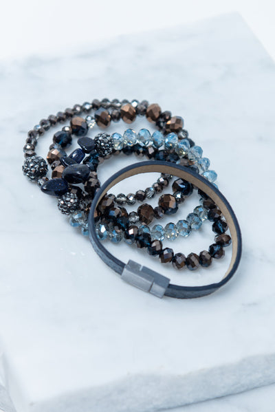 All The Love Bracelet, Chocolate-Navy Snakeskin