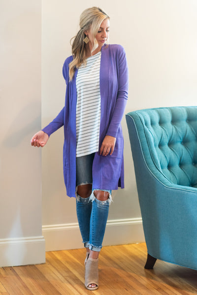 The Everyday Boyfriend Cardigan, Violet