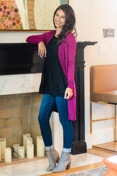 The Everyday Boyfriend Cardigan, Magenta